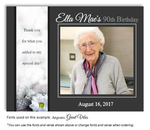 Dark Gray Daisy Thank You Photo Birthday Magnet