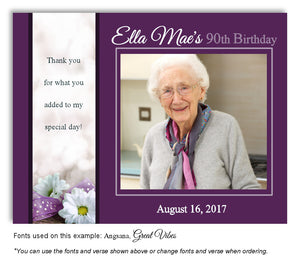 Dark Orchid Daisy Thank You Photo Birthday Magnet