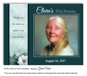 Dark Teal Daisy Thank You Photo Birthday Magnet