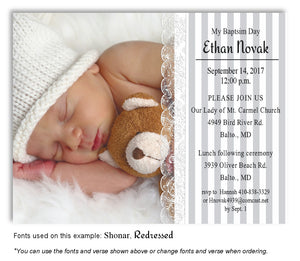 Gray Stripes and Lace Invitation Photo Baptism Magnet