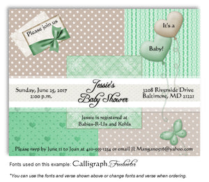 Green-Tan Wallpaper Squares Invitation Baby Shower Magnet