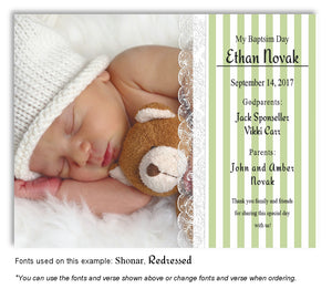 Green Stripes and Lace Thank You Photo Baptism Magnet