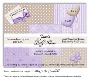 Lavender-Tan Wallpaper Squares Invitation Baby Shower Magnet