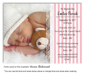 Pink Stripes and Lace Invitation Photo Baptism Magnet