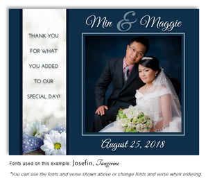 Prussian Blue Daisy Thank You Wedding Photo Magnet