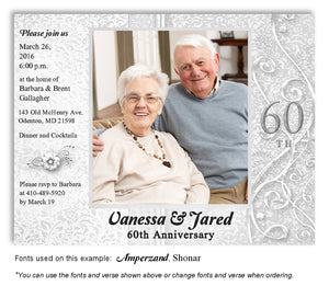 Silver Dressed Up Invitation Anniversary Photo Magnet