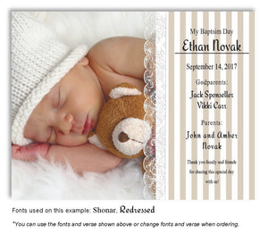 Tan Stripes and Lace Thank You Photo Baptism Magnet