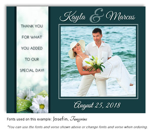 Teal Daisy Thank You Wedding Photo Magnet