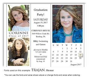 White Invitation Calendar Photo Graduation Magnet