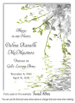 White Floral Water Memorial Magnet