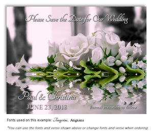 White Roses Save the Date Wedding Magnet
