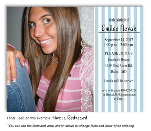 Blue Stripes and Lace Invitation Photo Birthday Magnet