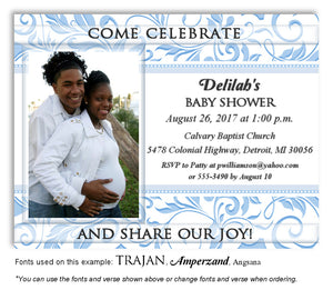 Blue Scroll Invitation Photo Baby Shower Magnet
