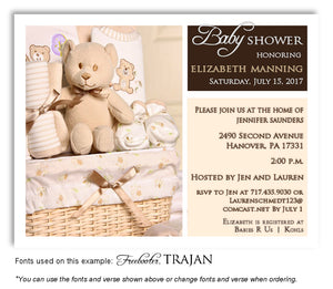 Brown and Cream Basket of Love Invitation Baby Shower Magnet