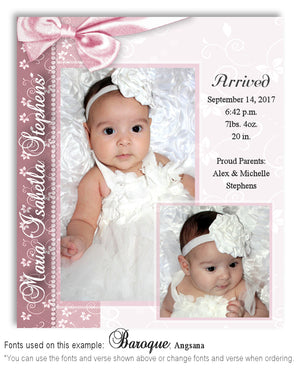Dusty Pink Birth Announcement Photo Magnet