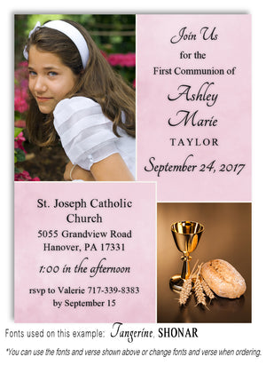 Dusty Pink Invitation Photo Communion Magnet