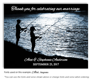 Evening Gone Fishing Thank You Wedding Magnet