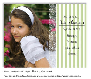 Green Stripes and Lace Thank You Photo Birthday Magnet