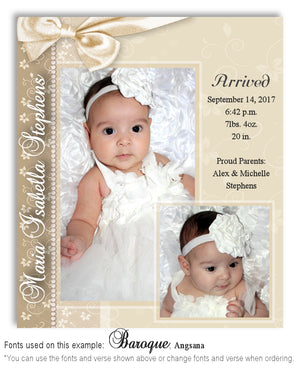 Ivory Birth Announcement Photo Magnet