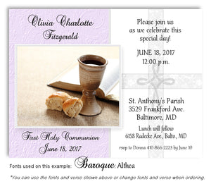 Lavender Cross and Chalice Invitation Communion Magnet