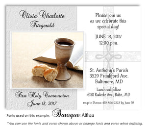 Light Gray Cross and Chalice Invitation Communion Magnet
