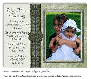 Light-Green-Dark-Green Elegant Invitation Photo Baptism Magnet