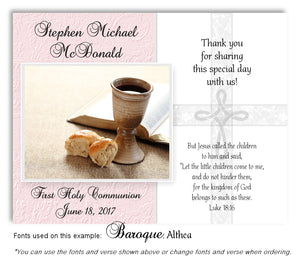 Light Pink Cross and Chalice Thank You Communion Magnet