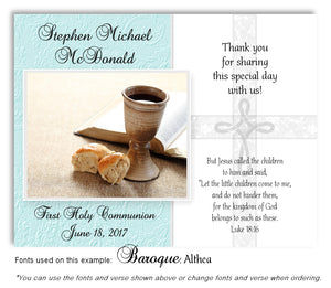 Light Turquoise Cross and Chalice Thank You Communion Magnet