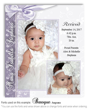 Medium Plum Birth Announcement Photo Magnet