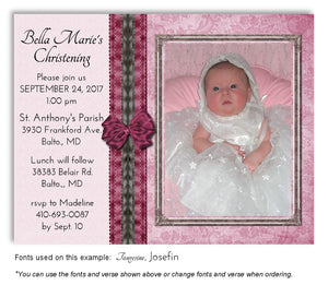 Pink-Dark-Pink Elegant Invitation Photo Baptism Magnet