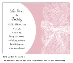 Pink Sheer Lace Thank You Birthday Magnet
