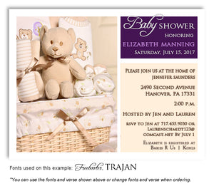 Purple and Cream Basket of Love Invitation Baby Shower Magnet