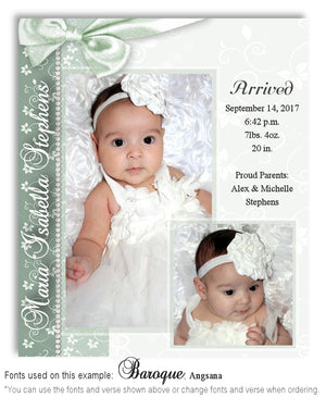 Sage Green Birth Announcement Photo Magnet