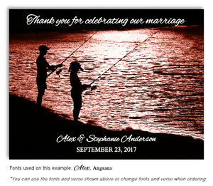 Sunset Gone Fishing Thank You Wedding Magnet