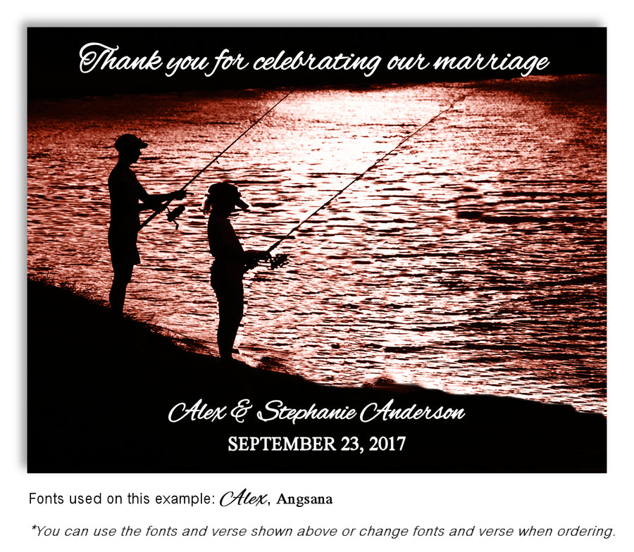 Sunrise Gone Fishing Save the Date Wedding Magnet