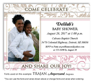 Tan-Pink Scroll Invitation Photo Baby Shower Magnet
