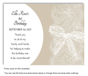 Tan Sheer Lace Thank You Birthday Magnet