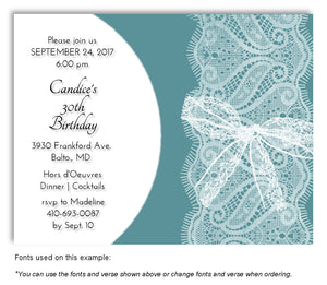 Teal Sheer Lace Invitation Birthday Magnet