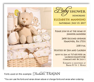 Yellow and Cream Basket of Love Invitation Baby Shower Magnet