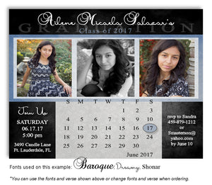 Black-Blue Invitation Photo Calendar Graduation Magnet