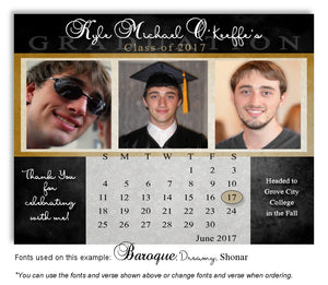 Black-Gold Thank You Photo Calendar Graduation Magnet