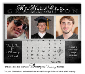 Black-Gray Thank You Photo Calendar Graduation Magnet