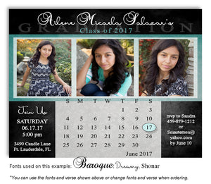 Black-Teal Invitation Photo Calendar Graduation Magnet