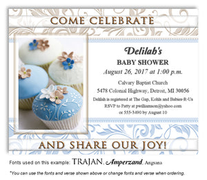 Blue Cupcakes Invitation Baby Shower Magnet