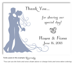 Blue Silhouette Thank You Wedding Magnet