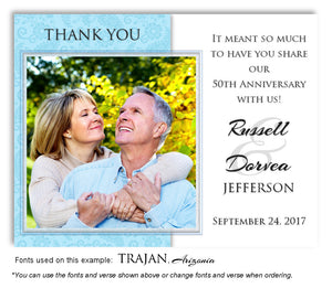 Sky Blue Paisley Thank You Anniversary Photo Magnet