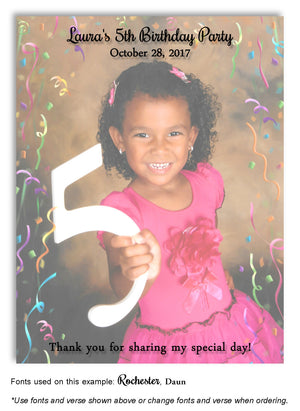 Color Faded Photo Only Thank You Photo Birthday Magnet