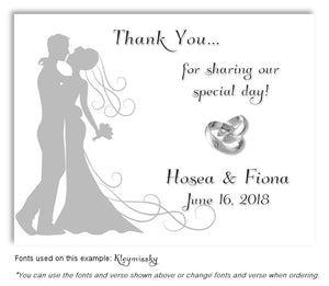 Gray Silhouette Thank You Wedding Magnet