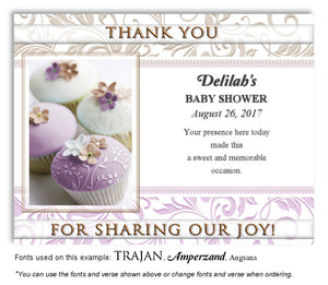 Lavender Cupcakes Thank You Baby Shower Magnet