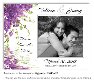 Lavender Floral Reflection Save the Date Wedding Photo Magnet